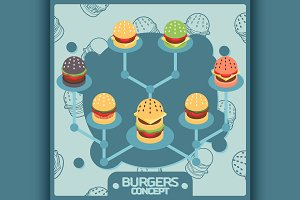 Burgers color concept icons