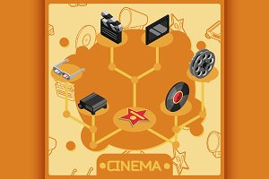 Cinema isometric concept icons