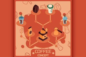 Coffee color isometric concept icons