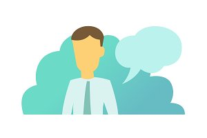Message saying man bubble. System message human appearance vector illustration