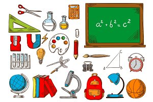 School and education supplies sketches