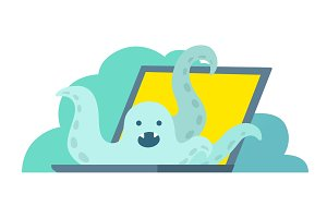 Octopus climbs out of the laptop. System error in laptop epic fail. Bug in the computer. Error page 404 not found.