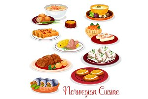 Norwegian cuisine national dishes set