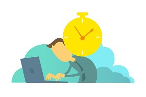 Clock reminds the worker of deadline. Time to take the project. Man does not have time to make project.