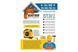 Handyman and house repair service poster