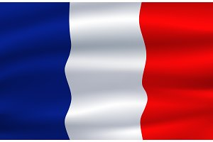 Flag of France waving in the wind 3d illustration