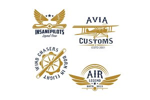 Aviation and airplane retro styled icons