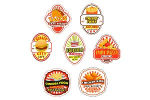 Fast food icons and symbols