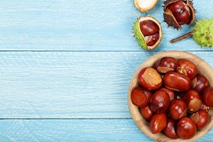 chestnut in bowl on blue wooden background with copy space for your text. Top view