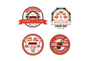 Japanese sushi bar icons with asian food