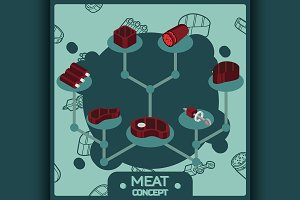 Meat color isometric concept icons