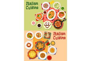 Italian cuisine traditional dishes and salads