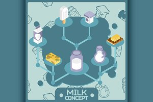 Milk color isometric concept icons