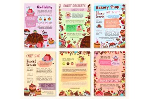 Bakery dessert, sweets and ice cream posters