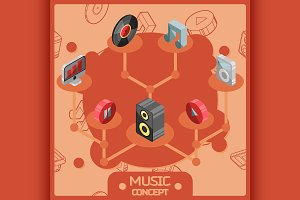 Music color isometric concept icons