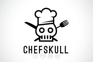 Chef Skull Logo Template