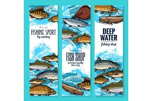 Sea fish banners for seafood or fishing design