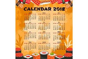 Calendar of japanese cuisine sushi