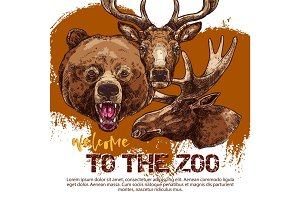 Zoo animal banner with sketched bear, dear and elk