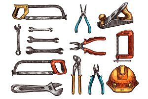Hand tool, work instrument isolated sketches