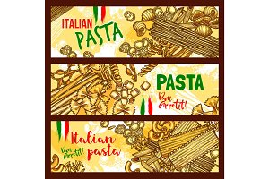 Traditional italian cuisine pasta banners