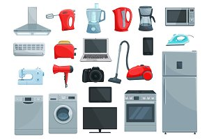 Home appliances and kitchenware icons