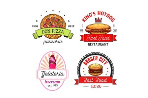 Fast food restaurant, cafe and pizzeria emblems