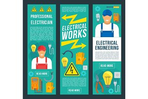 Electrician and electrical works banners