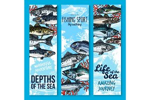 Sea fishing and seafood banners