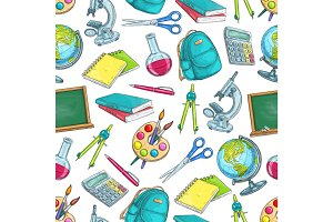 School supplies and education seamless pattern