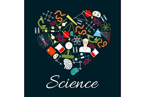 Heart with science and research icons