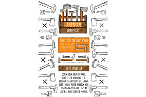 Home repair tool banner with toolbox
