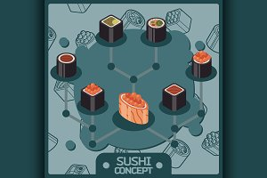 Sushi color isomeric concept icons
