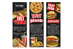Fast food lunch with drink banners