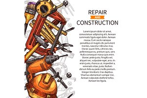 Repair and construction poster of work tools