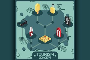 Tourism color concept icons