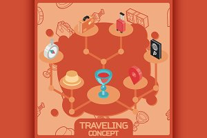 Traveling color concept icons