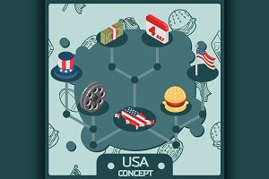 USA color isometric concept icons
