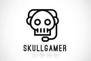 Skull Gamer Logo Template