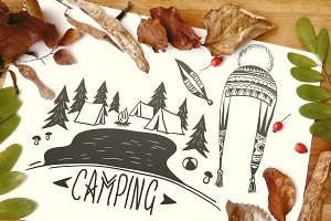 Doodle Camping & Ethno Illustrations
