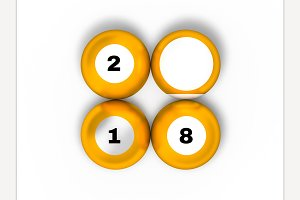 Pool billiard balls in new year 2018
