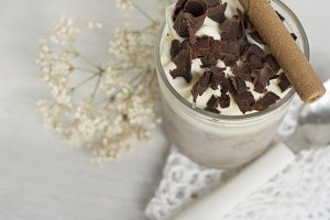 Delicious dessert, chocolate and whi