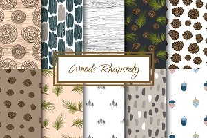 Woods Rhapsody Seamless Patterns
