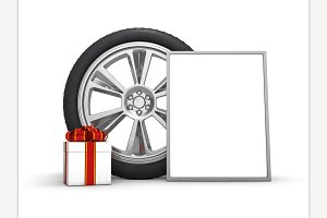 Car wheels with gift box and poster