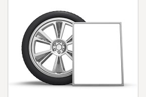 Car wheels with poster