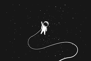 Astronaut alone in outer space