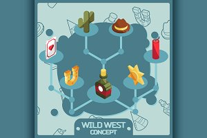 Wild west color concept icons