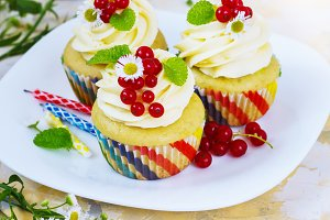 Gentle cupcake with cream and berries ?nd a candle a light background