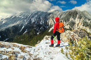 Winter hiking in mountains