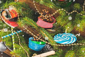 Christmas decorations still life